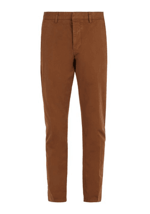 Ami - Tapered Leg Cotton Cropped Trousers - Mens - Camel