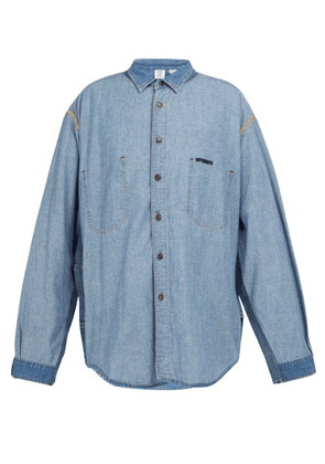 Vetements - Inside Out Panelled Denim Shirt - Mens - Blue