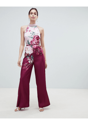 a0834b2d9b1a Ted Baker Halterneck Jumpsuit in Serenity Floral Print - Maroon