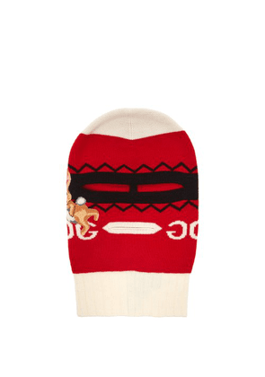 5cea3a218b7 Gucci - Bunny Appliqué Wool Balaclava - Womens - Red