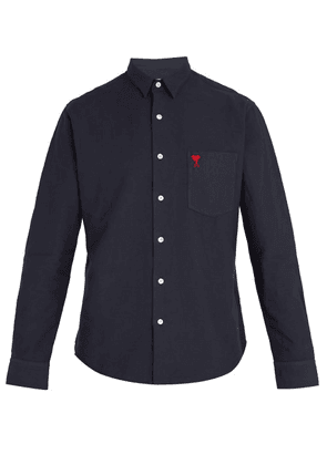 Ami - Logo Embroidered Cotton Shirt - Mens - Navy