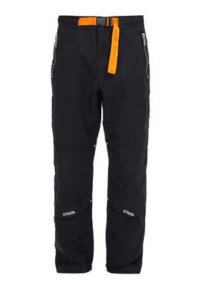 Heron Preston - стиль Embroidered Cotton Blend Trousers - Mens - Black