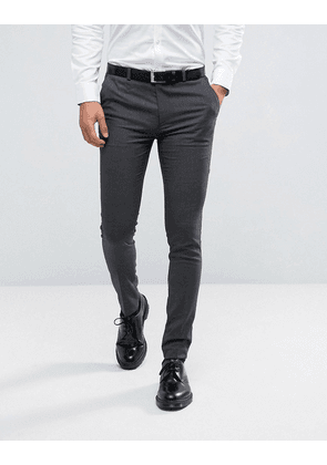 ASOS Super Skinny Smart Trousers In Charcoal - Charcoal