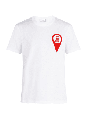 Ami - 'you Are Here' Printed Cotton T Shirt - Mens - White