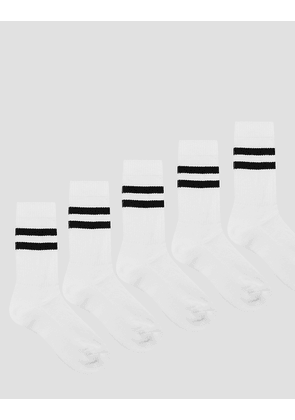 ASOS Sports Style Socks 5 Pack In White With Stripes - White