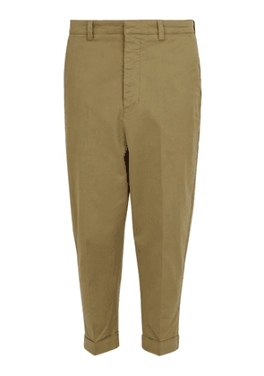 Ami - Oversized Tapered Stretch Cotton Trousers - Mens - Beige