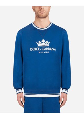 Dolce & Gabbana Sweaters - COTTON SWEATSHIRT WITH PATCH BLUE