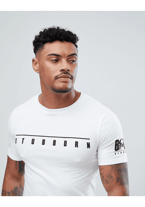 b9d18bdf ASOS DESIGN muscle fit super longline t-shirt with stubborn chest and  sleeve print and