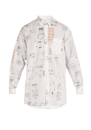 Vetements - Receipt Print Cotton Shirt - Mens - White
