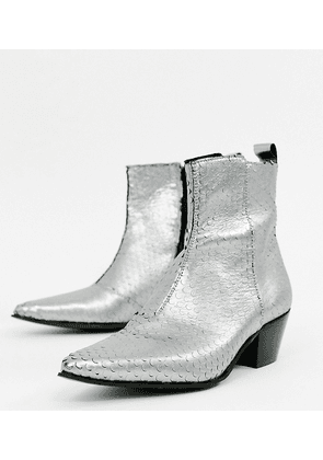 4e1d69f04a97 ASOS DESIGN Wide Fit cuban heel western chelsea boots in silver leather -  Silver