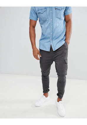 Brave Soul Gathered Cargo Trouser - Grey