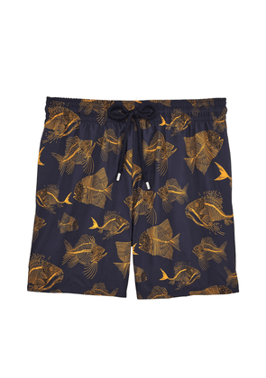 Vilebrequin Navy and Yellow Prehistoric Fish Swim Shorts