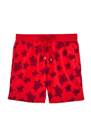 Vilebrequin Red and Purple Flocked Turtles Swim Shorts