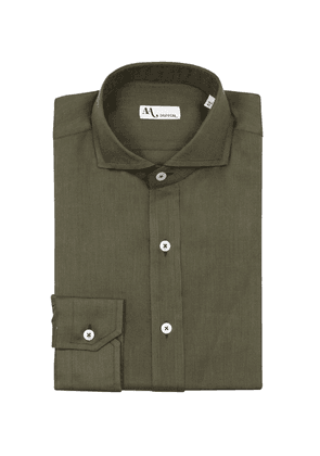 Doppiaa Olive Green Cotton French Collar Shirt