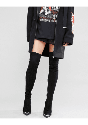 ASOS KAILA Pointed Over The Knee Heeled Boots - Black