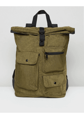 ASOS Backpack With Roll Top In Washed Khaki And Multi Pocket Detail - Khaki