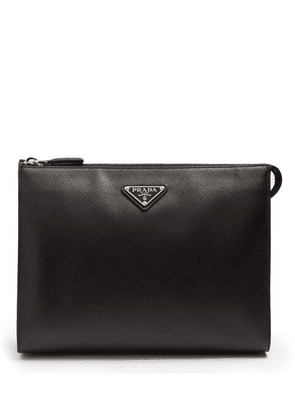 Prada - Logo Plaque Saffiano Leather Washbag - Mens - Black