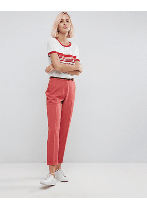 ASOS The Slim Tailored Cigarette Trousers With Belt - Terracotta