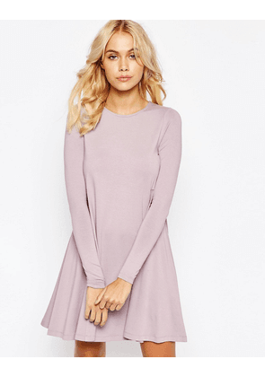 ASOS Swing Dress with Long Sleeves and Seam Detail - Dusty lilac