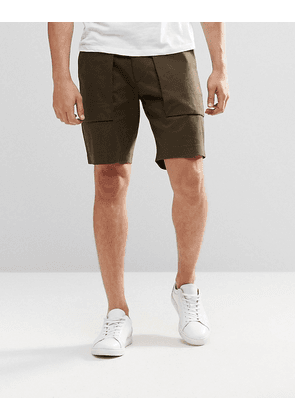 ASOS Long Length Tailored Shorts With Pockets In Khaki - Green