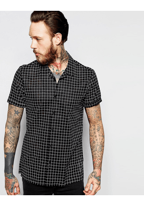 ASOS Sheer Shirt In Monochrome Check With Revere Collar In Regular Fit - Black