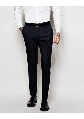 ASOS Slim Suit Trousers In Check - Navy