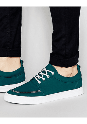 ASOS Lace Up Plimsolls in Green Faux Suede - Jade green