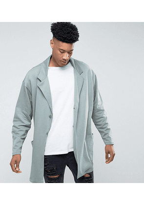 ASOS TALL Oversized Super Longline Jersey Duster Coat In Green - Ball green