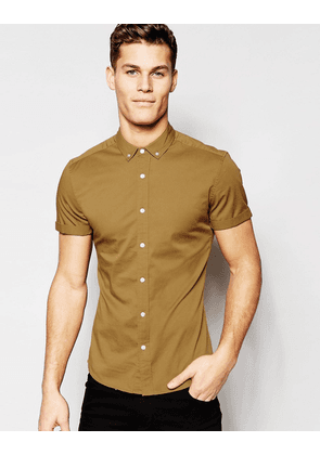 ASOS Skinny Shirt In Camel Twill With Short Sleeves - Camel