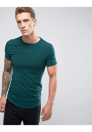 ASOS Longline Muscle Fit T-Shirt With Crew Neck And Curve Hem - Highland