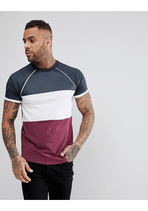 ASOS Raglan T-Shirt With Curved Hem And Contrast Colour Block - Navy