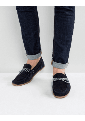 ASOS Driving Shoes In Navy Suede With Contrast Lace - Navy