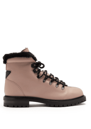 Valentino - Rockstud Leather Hiking Boots - Womens - Black Nude