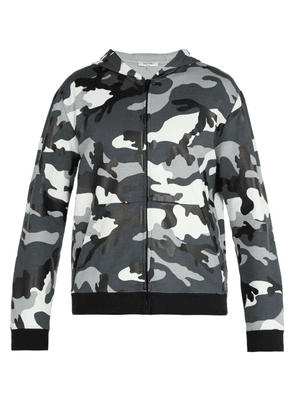 Valentino - Camouflage Print Hooded Sweatshirt - Mens - Grey