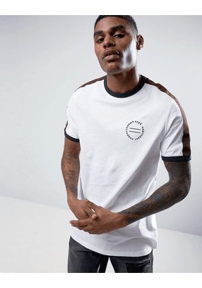 ASOS Longline T-Shirt With Retro Chest Print & Shoulder Tape - White
