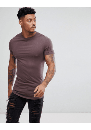 01e5bce1 ASOS DESIGN longline muscle fit t-shirt with curve hem in brown - Dusted  truffle
