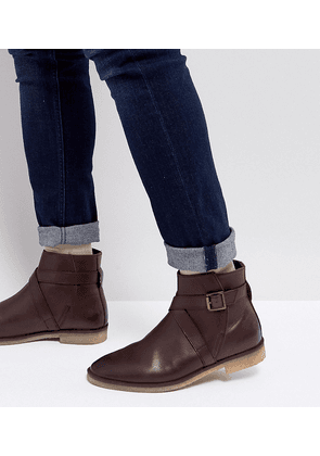 3739d6142752f ASOS Wide Fit Chelsea Boots In Brown Leather With Strap Detail And Natural  Sole - Brown