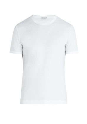 Dolce & Gabbana - Logo Neck Cotton Blend T Shirt - Mens - White