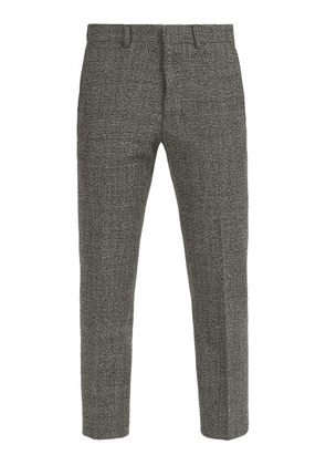 Ami - Cropped Wool Blend Trousers - Mens - Grey