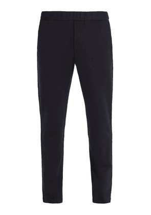 Bottega Veneta - Intrecciato Trim Cotton And Wool Blend Track Pants - Mens - Navy