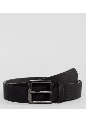 ASOS DESIGN PLUS vegan wide belt in black pebble grain faux leather and gunmetal buckle - Black