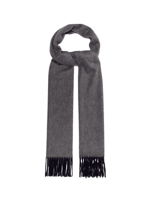 Begg & Co. - Aaran Two Tone Fringed Cashmere Scarf - Mens - Navy Multi