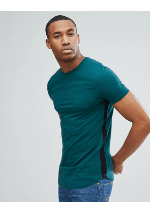 959f997d ASOS DESIGN longline muscle fit t-shirt with curve hem and gusset contrast  - Highland