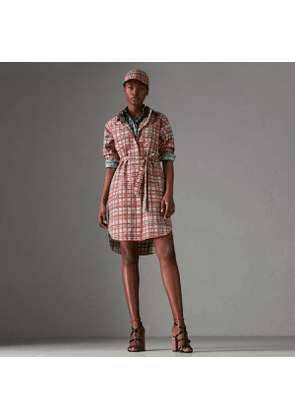 Burberry Painted Check Cotton Tie-waist Shirt Dress, Blue