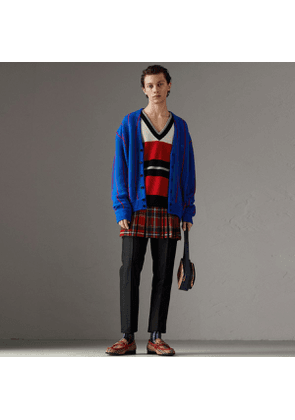 Burberry Reissued Striped Lambswool Sweater, Red