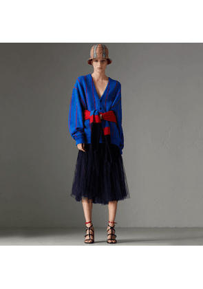 Burberry Lace Panel Pleated Tulle Skirt, Blue