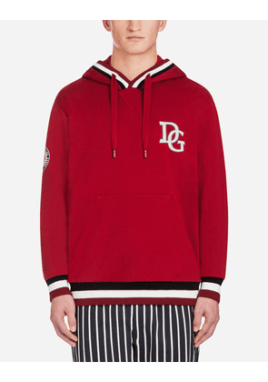 Dolce & Gabbana Sweaters - COTTON HOODIE WITH PATCH RED