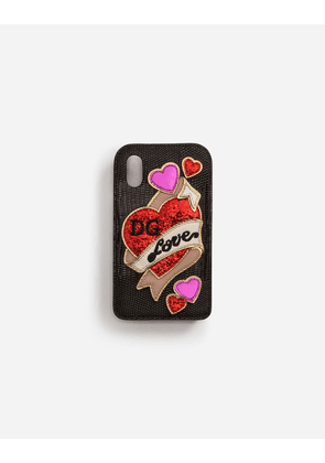 Dolce & Gabbana Hi-Tech Accessories - IPHONE X COVER IN IGUANA PRINT CALFSKIN WITH EMBROIDERY PATCH BLACK