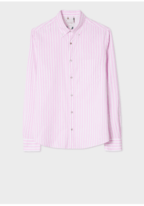 Men's Tailored-Fit Pink And White Stripe Cotton 'People' Print Cuff Oxford Shirt