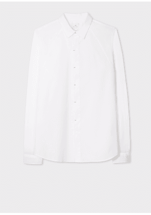 Men's Slim-Fit White 'Sports Stripe' Cuff Lining Cotton Shirt With Placket Details